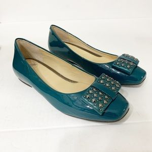 Nurture 6M Teal Green Flats Patent Leather Comfort